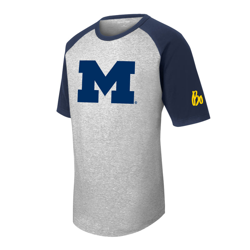 Bo Schembechler Signature University of Michigan Block M Youth Short Sleeve Raglan Tee - Heather Grey/Navy
