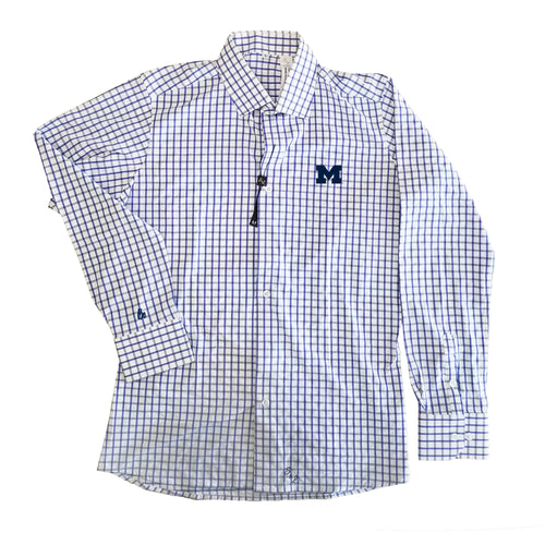 Bo Schemechler Signature Cuff University of Michigan Block M Logo State & Liberty Burke Button Down - Big Blue Windowpane