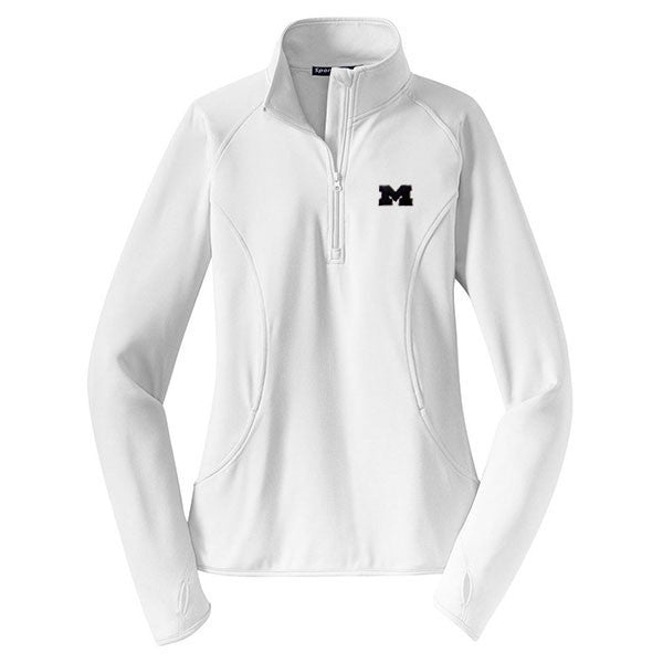 Embroidered Primary Logo University of Michigan Sport-Tek Ladies Stretch Quarter-Zip - White