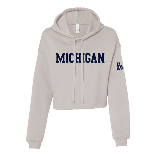 Block University of Michigan Bo Schembechler Signature Women's Crop Hoodie - Heather Dust