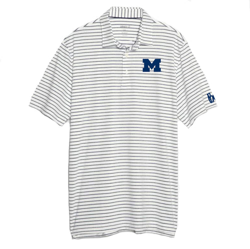 Bo Schembechler Signature University of Michigan Block M Johnnie O Beech Polo - Twilight