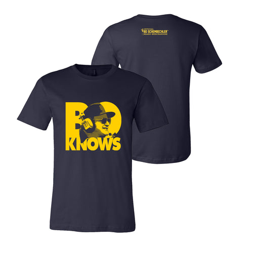 Bo Schembechler Knows Headset Canvas Brand Tee - Navy