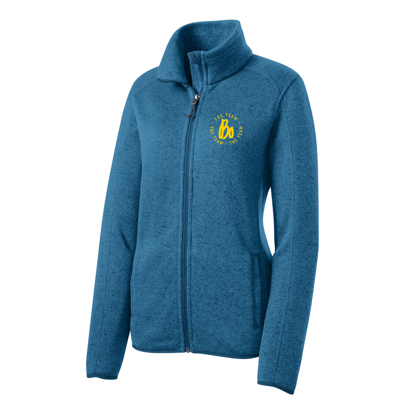 Bo TTT Circle EMB University of Michigan Port Authority Ladies Sweater Fleece Jacket - Medium Blue Heather