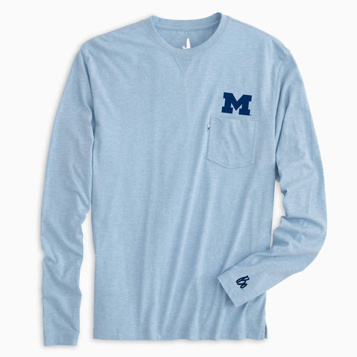 University of Michigan Block M Pocket Bo Schembechler Signature Cuff Johnnie-O Matty LS Tee - Maliblu