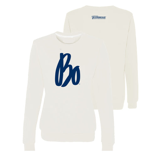 Bo Schembechler Signature Womens Comfort Colors Crewneck Sweatshirt - White