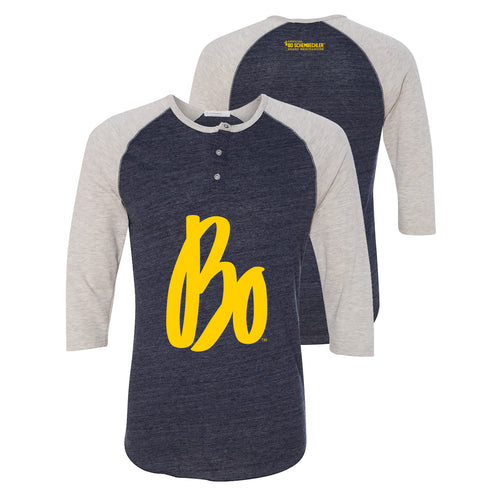 Bo Schembechler Signature Alternative Apparel Raglan Henley - Eco True Navy