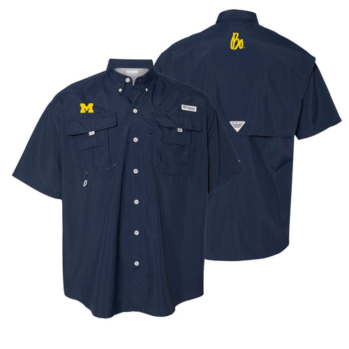 Block M Bo Sig University of Michigan Columbia Bahama II Shirt - Collegiate Navy