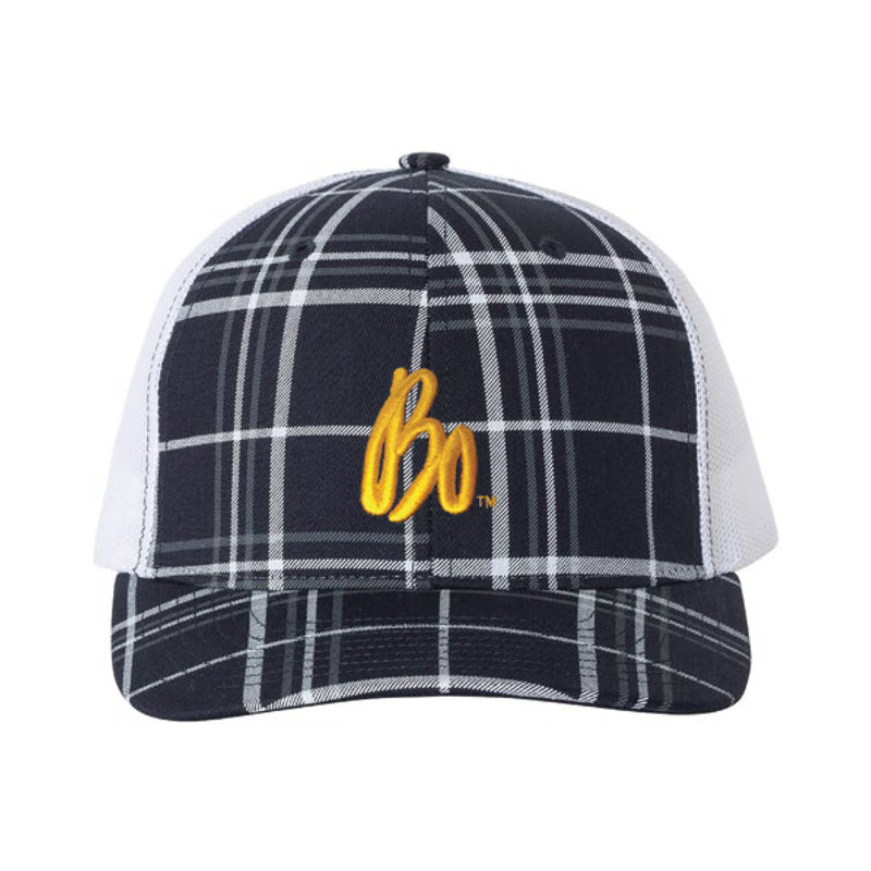 Bo Schembechler Signature Plaid Print Ladies Snapback Hat - Navy/White