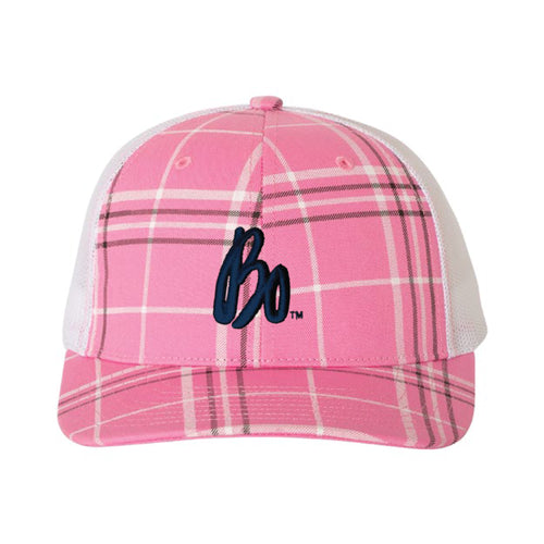 Bo Schembechler Signature Plaid Print Snapback Hat - Pink/White