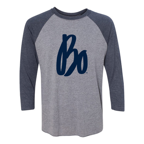 Bo Schembechler Signature Next Level Raglan 3/4 Sleeve - Premium Heather/Vintage Navy