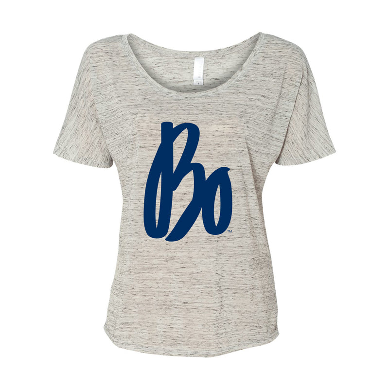 Bo Sig Womens Slouchy Tee - White Marble