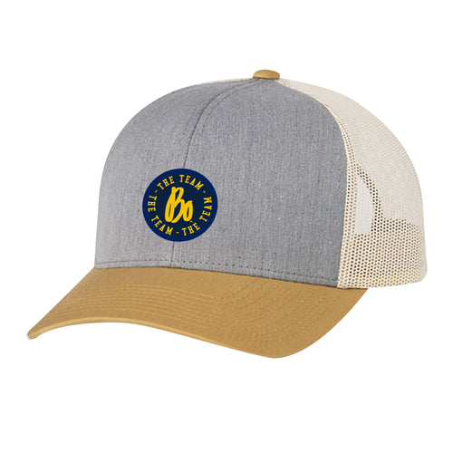 Bo TTT Circle Patch University of Michigan Pacific Headwear Trucker Snapback - Grey/Amber/Beige