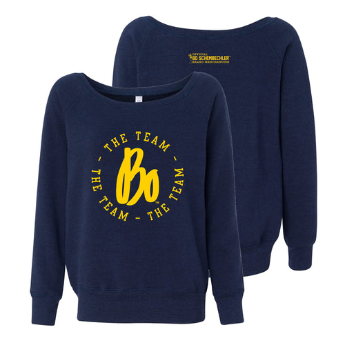 Bo Schembechler The Team The Team The Team Circle Womens Sponge Fleece Wideneck Sweatshirt - Navy Triblend