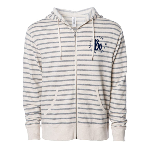 Bo TTT Circle LC French Terry Zip Hoodie - Oatmeal Heather / Salt Pepper Stripe