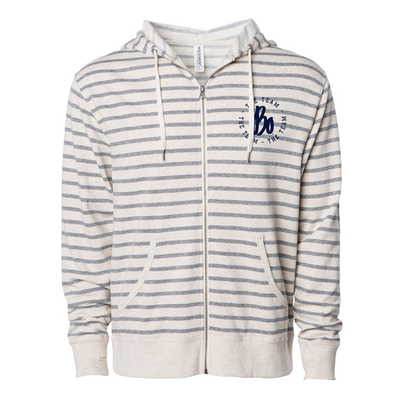 Bo Schembechler The Team The Team The Team Circle Left Chest French Terry Zip Hoodie - Oatmeal Heather / Salt Pepper Stripe