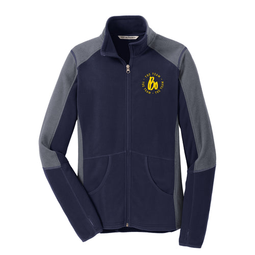 Bo TTT Circle EMB University of Michigan Port Authority Ladies Colorblock Microfleece Jacket - Navy/Grey