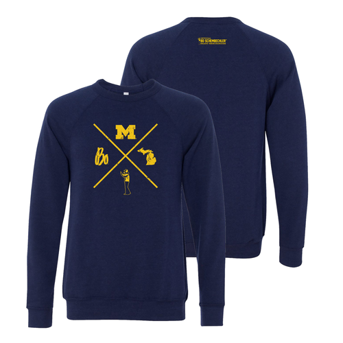 Bo Scembechler X University of Michigan Bella Sponge Fleece Crew Sweatshirt - Navy Triblend