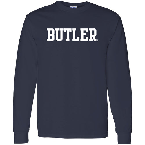Butler University Bulldogs Basic Block Long Sleeve T Shirt - Navy