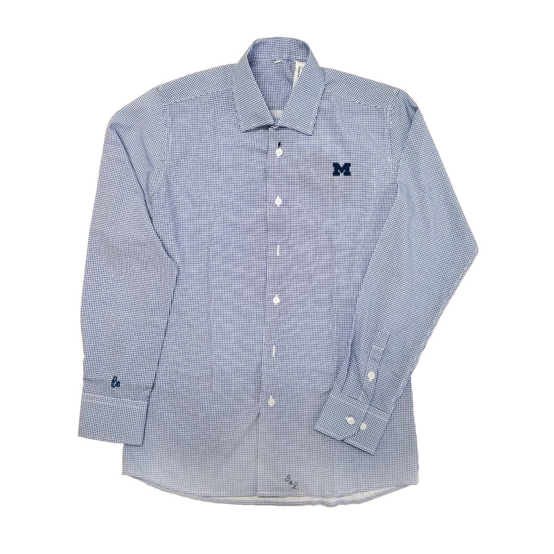 Block M Bo Sig Cuff S&L Meram Button Down - Blue Windowpane