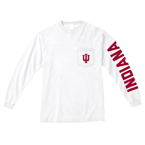 Indiana University Trident Long Sleeve Pocket Tee - White