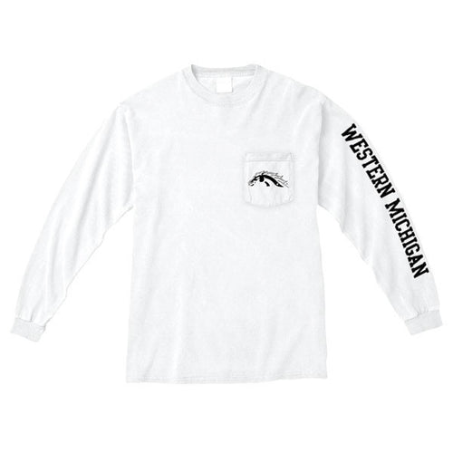 Western Michigan Long Sleeve Pocket Tee - White