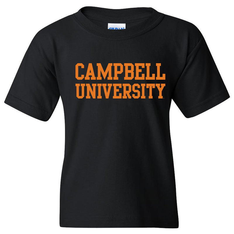 Campbell University Fighting Camels Basic Block Cotton Youth Short Sleeve T-Shirt - Black