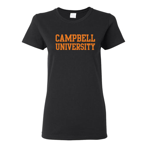 Campbell University Fighting Camels Basic Block Cotton Women's Short Sleeve T-Shirt - Black