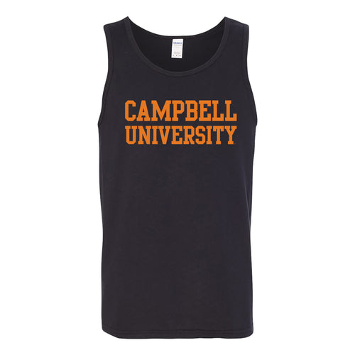 Campbell University Fighting Camels Basic Block Heavy Cotton Tank Top - Black
