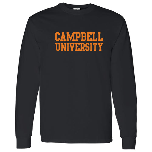 Campbell University Fighting Camels Basic Block Cotton Long Sleeve T-Shirt - Black