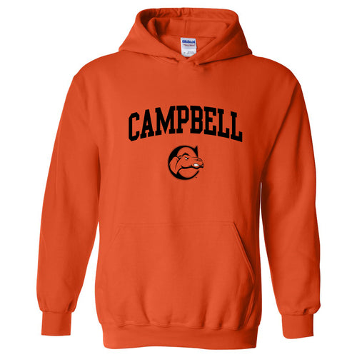 Arch Logo Campbell Fighting Camels Heavy Cotton Blend Hoodie  - Orange