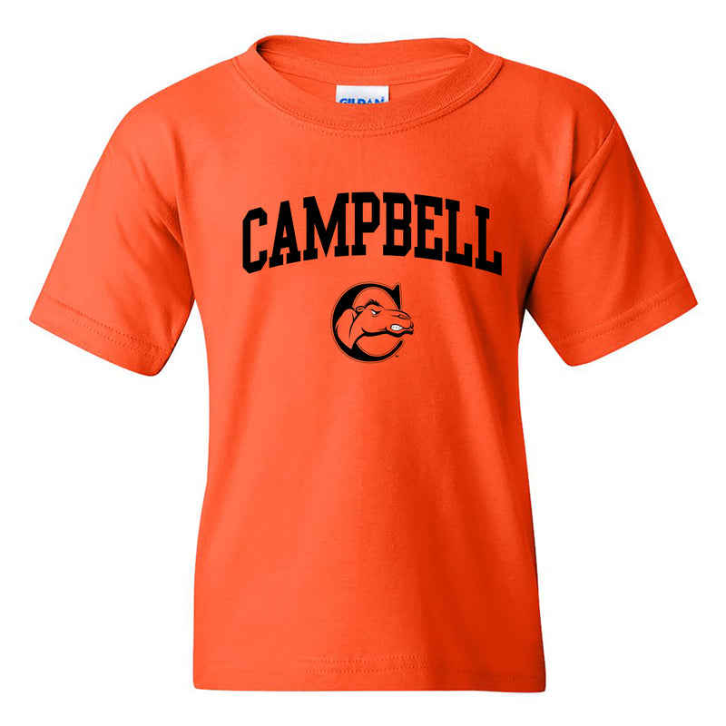 Campbell University Fighting Camels Arch Logo Basic Cotton Youth Short Sleeve T-Shirt - Orange