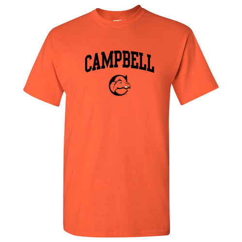 Campbell University Fighting Camels Arch Logo Basic Cotton Short Sleeve T-Shirt - Orange