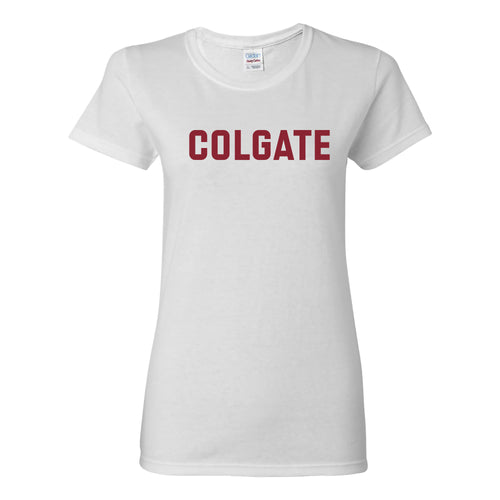 Colgate University Raiders Basic Block Womens Short Sleeve T Shirt - White