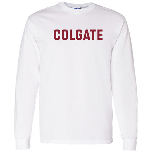Colgate University Raiders Basic Block Long Sleeve T Shirt - White