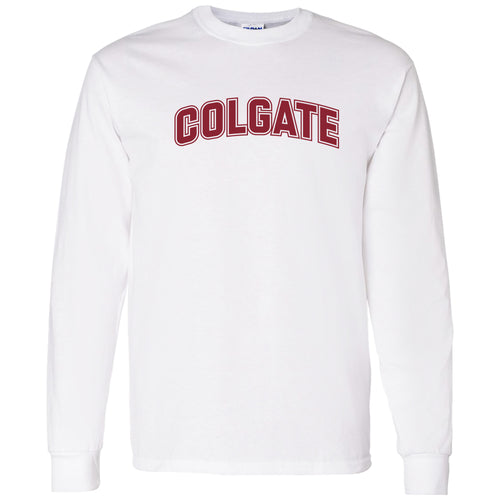 Colgate University Raiders Arch Logo Long Sleeve T Shirt - White