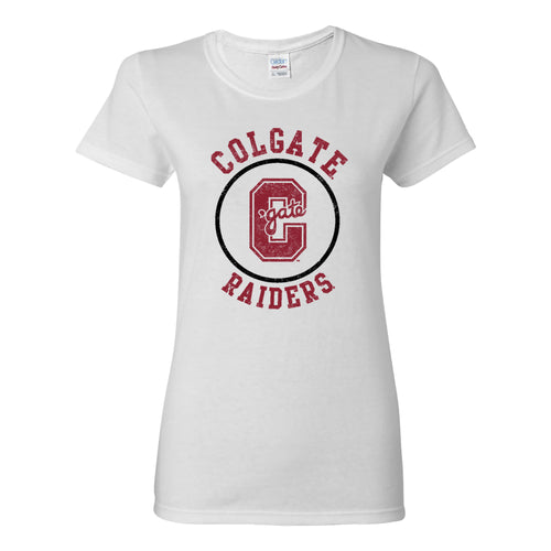 Colgate University Raiders Distressed Circle Logo Womens Short Sleeve T Shirt - White