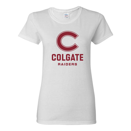Colgate University Raiders Primary Logo Womens Short Sleeve T Shirt - White