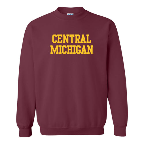 Central Michigan University Chippewas Basic Block Crewneck - Maroon