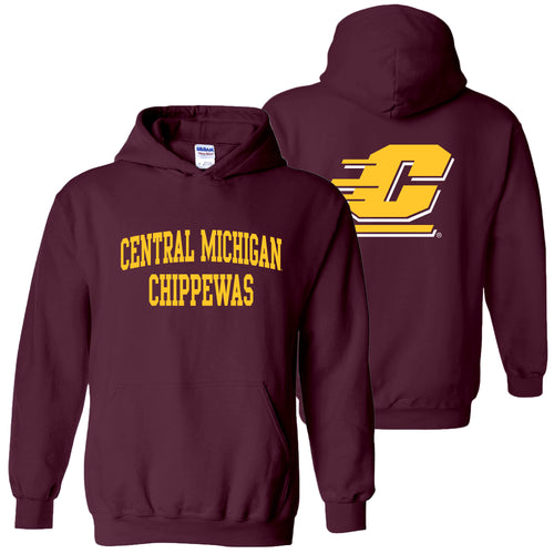Central Michigan University Chippewas Front Back Print Hoodie - Maroon