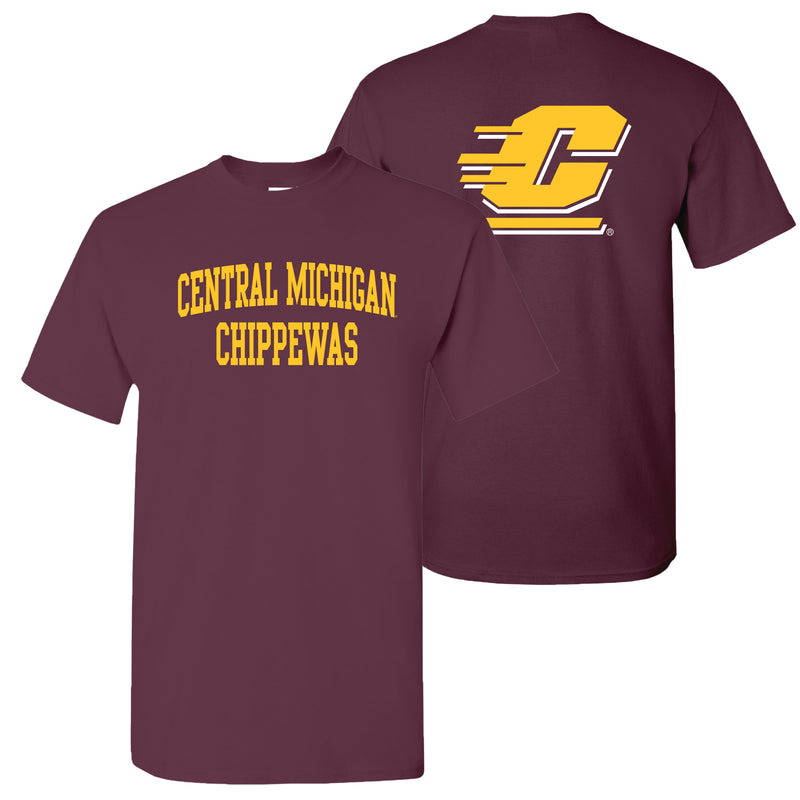 Central Michigan University Chippewas Front Back Print Short Sleeve T Shirt - Maroon