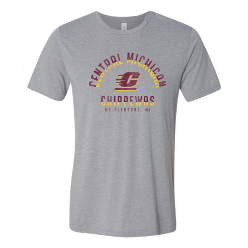Central Michigan University Chippewas Division Arch Canvas Triblend Short Sleeve T Shirt - Athletic Grey