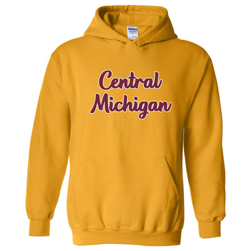Central Michigan Chippewas Basic Script Heavy Blend Hoodie - Gold