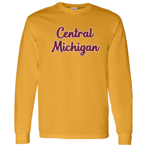 Central Michigan University Chippewas Basic Script Basic Cotton Long Sleeve T Shirt - Gold