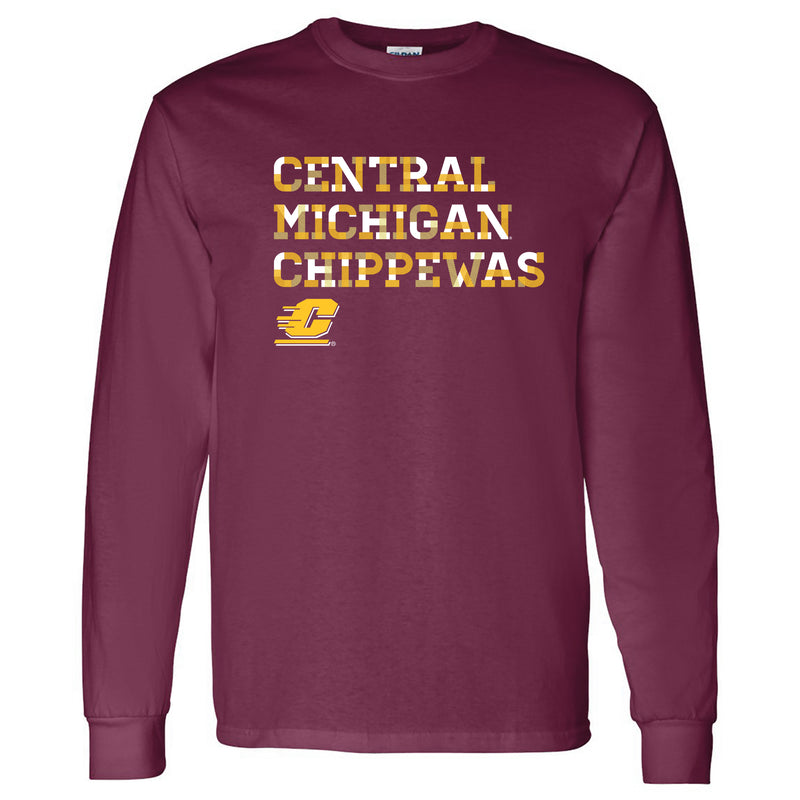 Central Michigan University Chippewas Patchwork Cotton Long Sleeve T Shirt - Maroon