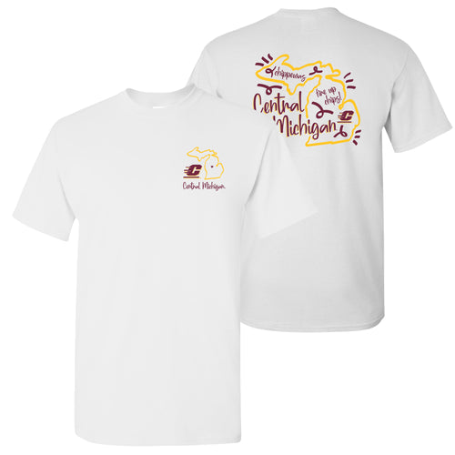 Central Michigan University Chippewas Playful Sketch Short Sleeve T Shirt - White