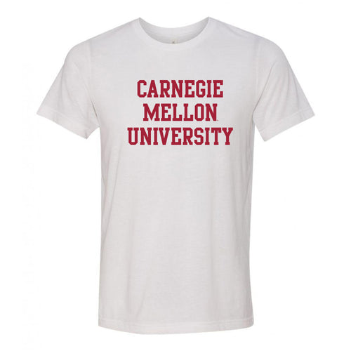 Carnegie Mellon University Tartans Basic Block Canvas Triblend Short Sleeve T Shirt - Solid White Triblend