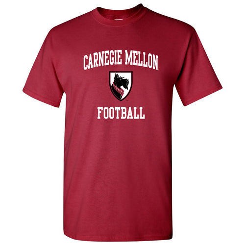 Carnegie Mellon University Tartans Arch Logo Football Short Sleeve T Shirt - Cardinal