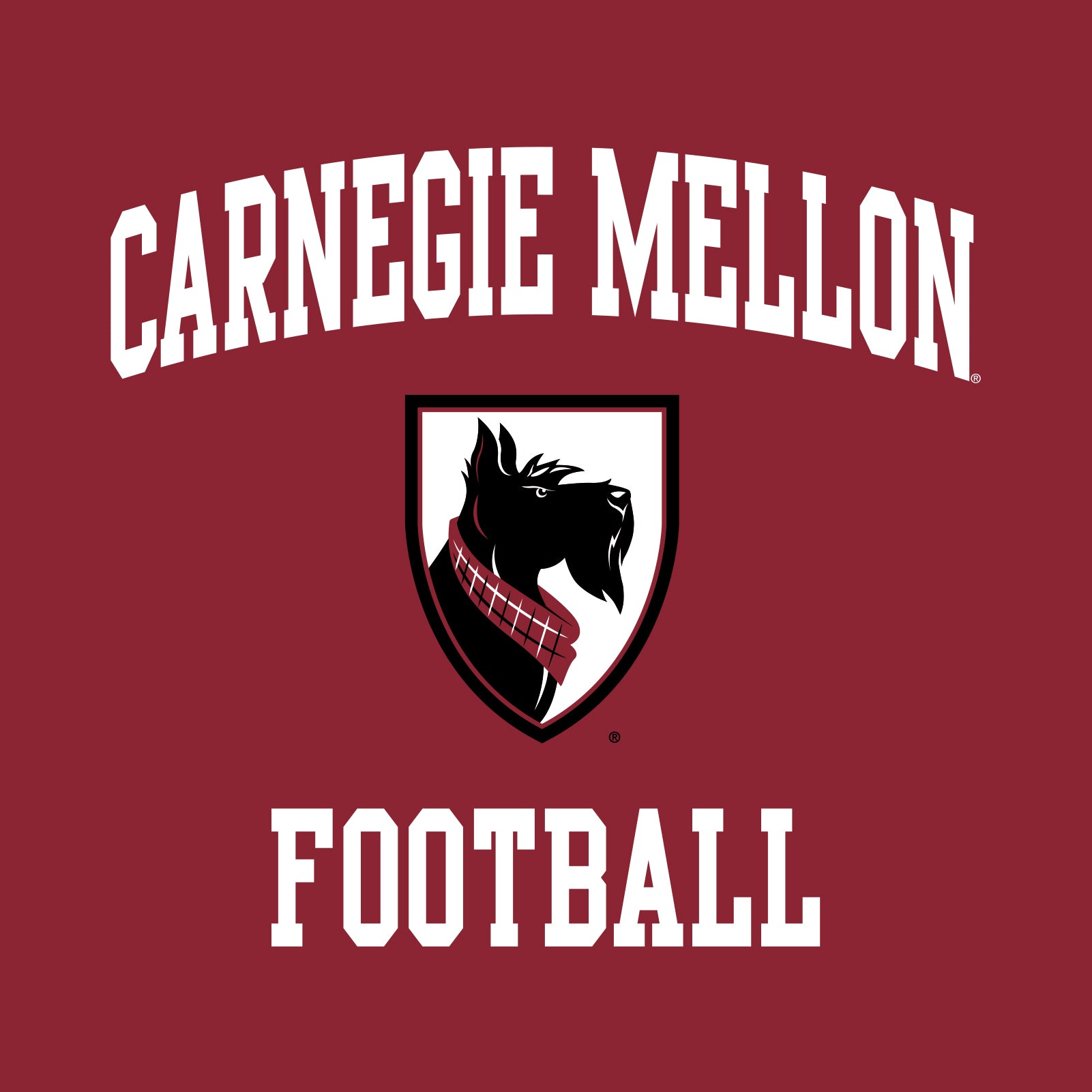 low priced d7f84 82376 Carnegie Mellon University Tartans Arch Logo Football Short Sleeve T Shirt  - Cardinal