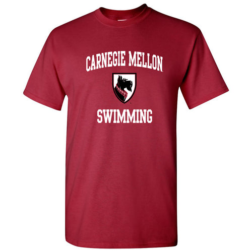 Carnegie Mellon University Tartans Arch Logo Swimming Short Sleeve T Shirt - Cardinal