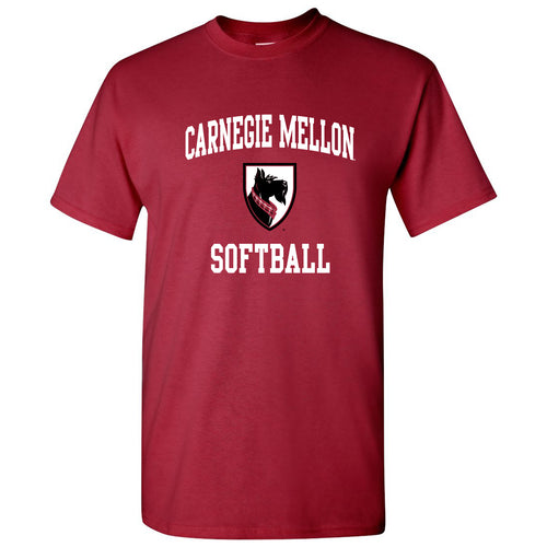 Carnegie Mellon University Tartans Arch Logo Softball Short Sleeve T Shirt - Cardinal